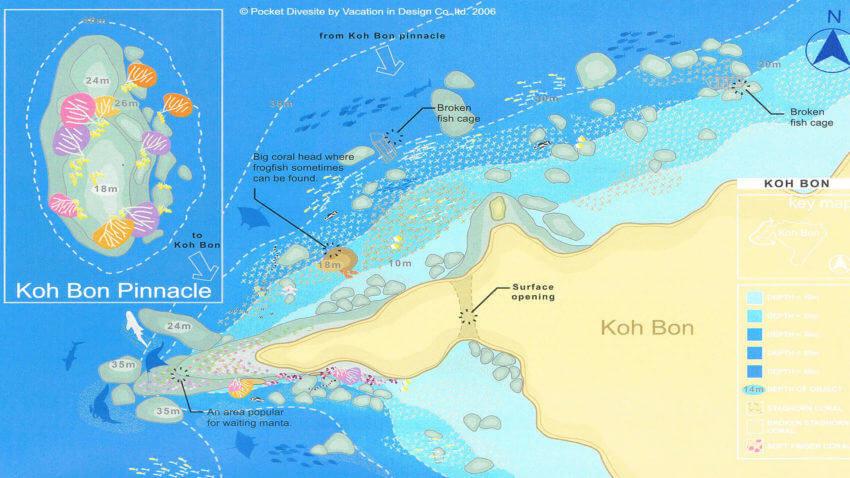 Koh Bon Dive Site Map