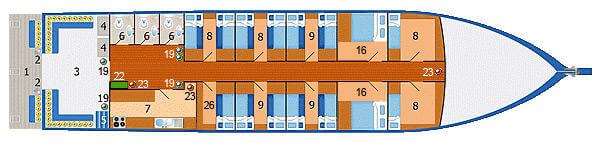 Dolphin Queen Liveaboard Main Deck Plan