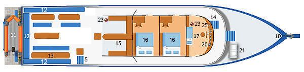 Dolphin Queen Liveaboard Upper Deck Plan