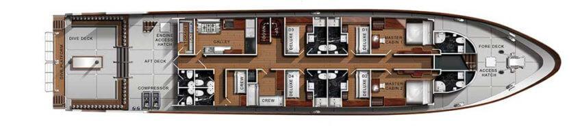 Sawasdee Fasai Liveaboard Main Deck Plan